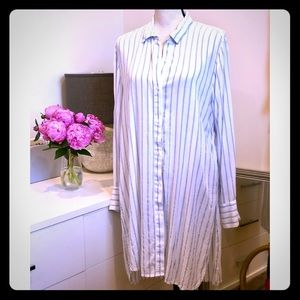 Gap Blue & White Striped Button Down Tunic XL